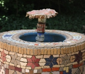 Mosaic fountain by CAC's Children's Committee.