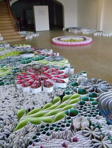 MULTI-LIBRIUM, an installation made up of more than 10,000 reused art invitations, from Houston artist Orna Feinstein.