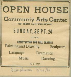 Community Arts Center advertisement from 1961.